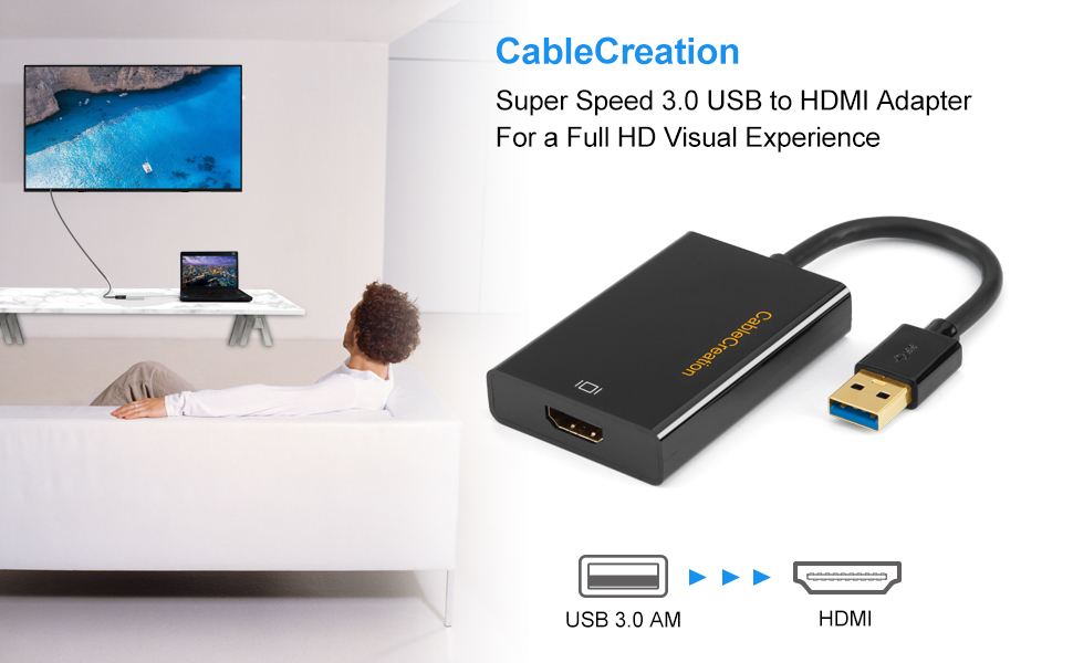 USB to HDMI Adapter (Display Link Chipset), CableCreation USB 3 0 External  Video Card Compatible with Windows, Mac, mac OS, Support 2K &1080P, Black