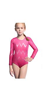 4ee6abae9 Amazon.com  Gymnastics Leotards for Girls Long Sleeve Biketard Red ...