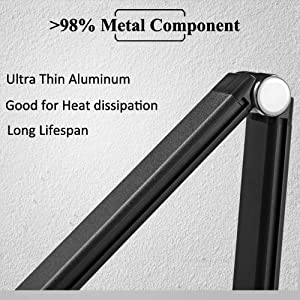 adults metal aluminum silver dimmable dimming stylish slim folding functional dimmer table lamp