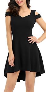 Cold shoulder black cocktail dresses for women juniors