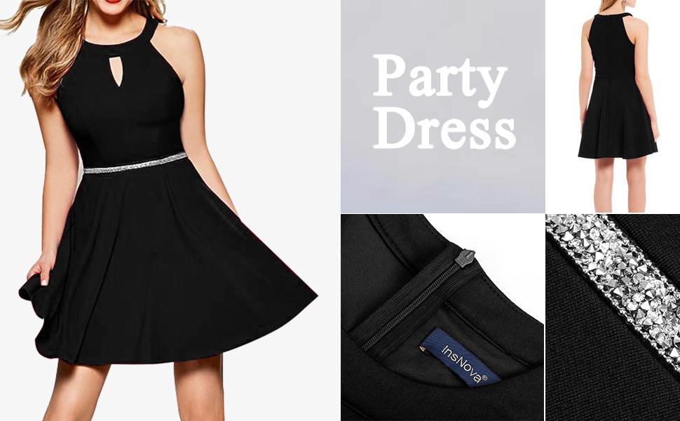 InsNova Women's Halter A-Line Cocktail Dress Keyhole Neck sparkling waistband Skater dresses