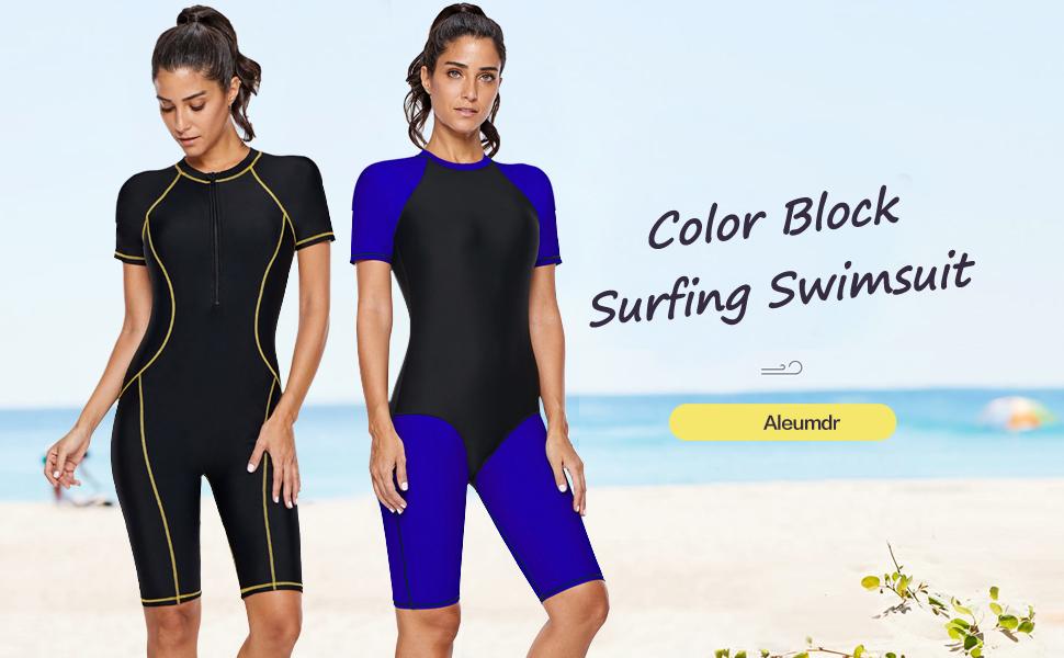 4c5825eb54 Aleumdr Womens Zip Front Color Blocked Printed Short Sleeve One Piece  Swimsuit Rash Guard Swimwear