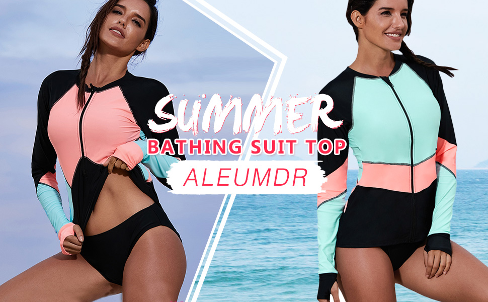 dd9854c01f Aleumdr Womens Zip Front Long Sleeve Rashguard Shirt Color Block Print  Tankini Swimsuit S-3XL