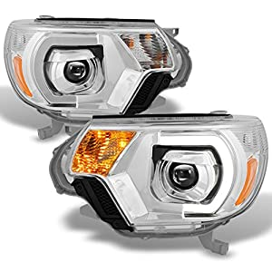 This is a 100% brand new pair of Replacement Projector LED Headlight in Chrome Housing Clear Lens