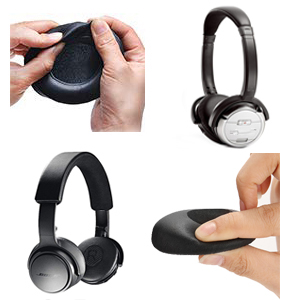 Earpads Cushions Kit Compatible with Bose OE2i QC3 QuietComfort 3 Soundtrue//SoundLink On-Ear Headset Over-Ear Headphones. WADEO Replacement Ear Pads for Bose OE2 Black