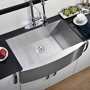 Comllen 33 Inch 304 Stainless Steel Farmhouse Kitchen Sink, Single Bowl 16  Gauge 10 Inch Deep Handmade Undermount Apron Kitchen Sink