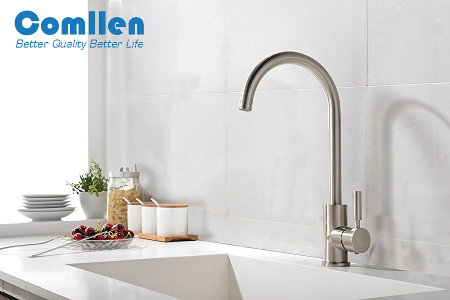 Comllen Best Commercial Brushed Nickel Stainless Steel Single Handle ...