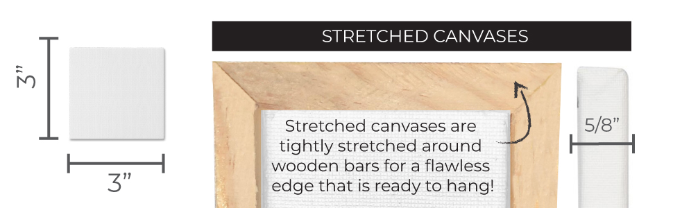 STRETCHED CANVASES ARE TIGHTLY STRETCHED AROUND WOODEN BARS FOR A FLAWLESS EDGE THAT'S READY TO HANG