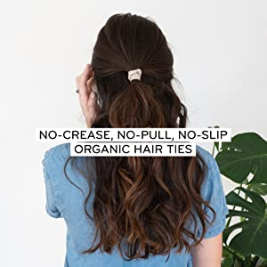 creaseless ouchless wide organic cotton hair elastics ponytail holder wide cotton ouchless ribbon