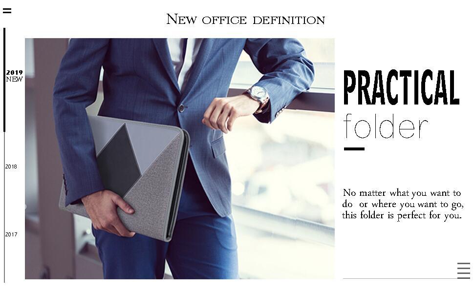 FYY Padfolio Case Portfolio, Leather Zippered Conference Folder Document Organizer