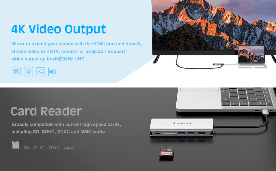 aae37d7ac96 Amazon.com  LENTION USB-C Digital AV Multiport Hub with 4K HDMI