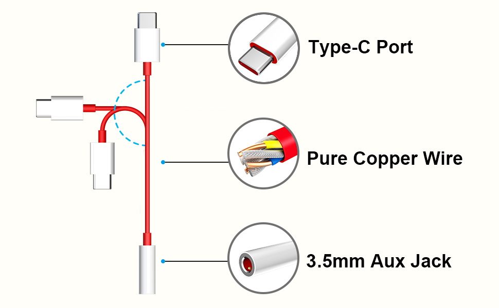 Amazon Com Titacute Usb C To 3 5mm Audio Adapter 2 Pack Type C Male To 3 5mm Female Audio Cable For Oneplus 6t Aux Adapter Noise Cancelling Stereo Dac Headphones Jack Converter Adapter For