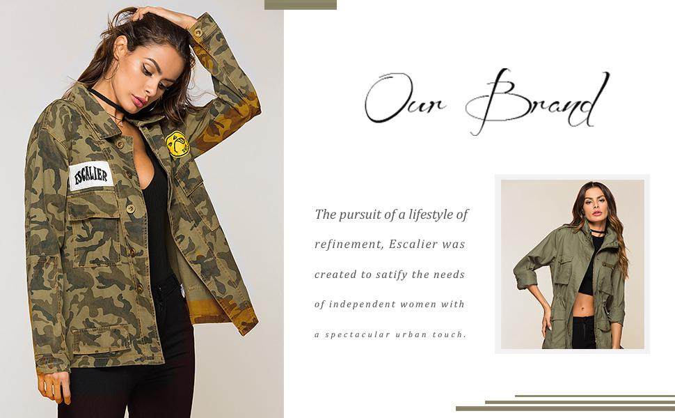 47e8d5955cfcf Amazon.com: Escalier Women's Military Camo Jacket Zipper Causal ...