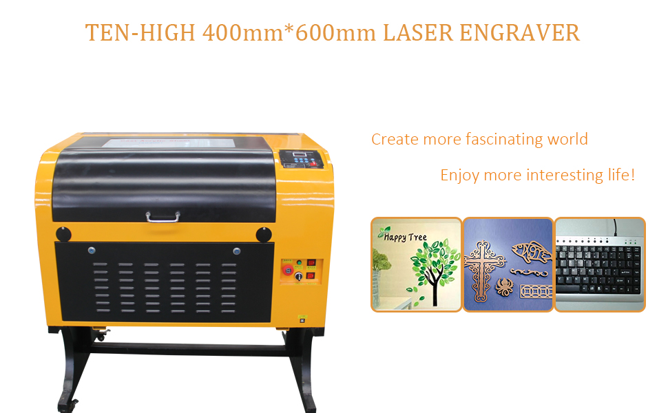 TEN-HIGH Upgraded Version CO2 400x600mm 100W 120V Laser Engraving Cutting  Machine with USB Port