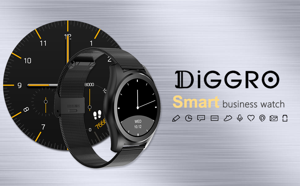 Diggro Bluetooth Smart Watch DI03 MTK2052C Heart Rate Monitor Pedometer Sleep Monitor Microphone Speaker Siri for Android iOS (Sliver)