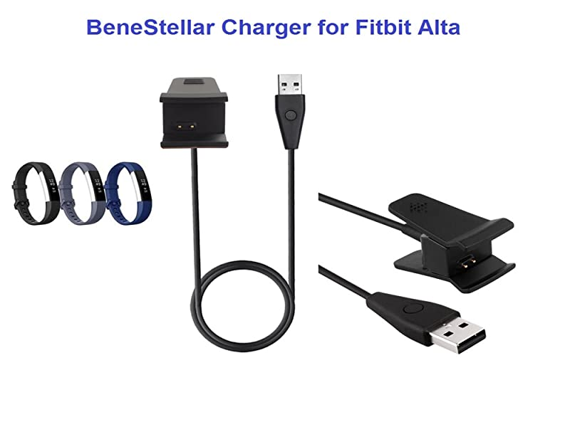 BeneStellar for Fitbit Alta Charger with Reset Button,2-Pack 1ft+3ft Replacement Charging Cable Cradle Dock Adapter for Fitbit Alta Fitness Wristband ...