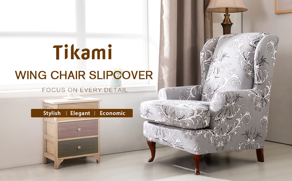 Fantastic Tikami Wing Chair Slipcovers 2 Piece Spandex Stretch Sofa Covers With Arms Printing Pattern Fabric Furniture Protector Amaranth Pattern Pdpeps Interior Chair Design Pdpepsorg