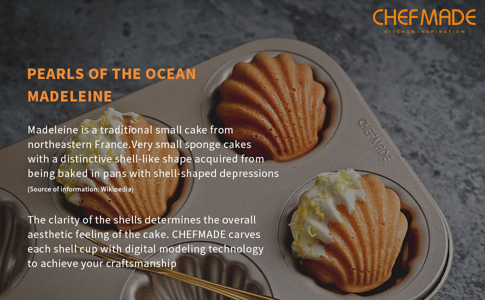 CHEFMADE Madeleine Mold Cake Pan, 6-Cavity Non-Stick Spherical scallop  Madeline Bakeware, FDA Approved for Oven Baking (Champagne Gold)