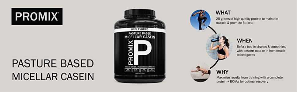 ProMix Nutrition Pasture-based micellar casein protein powder unflavored chocolate recovery formula
