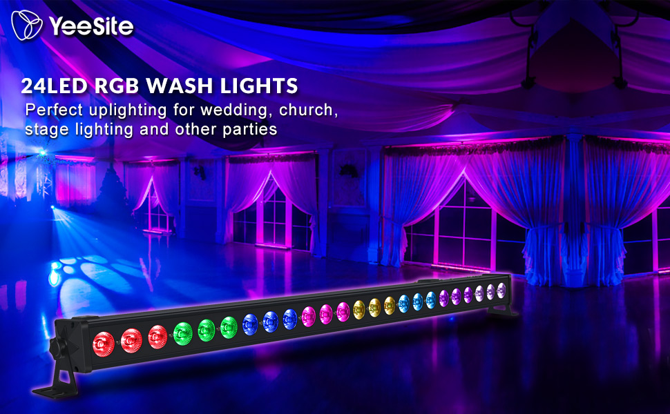 LED Wall Washer, YeeSite 72W 24LED Tricolor RGB LED Wash Lighting by DMX Control for Wedding Stage Lighting Halloween Christmas