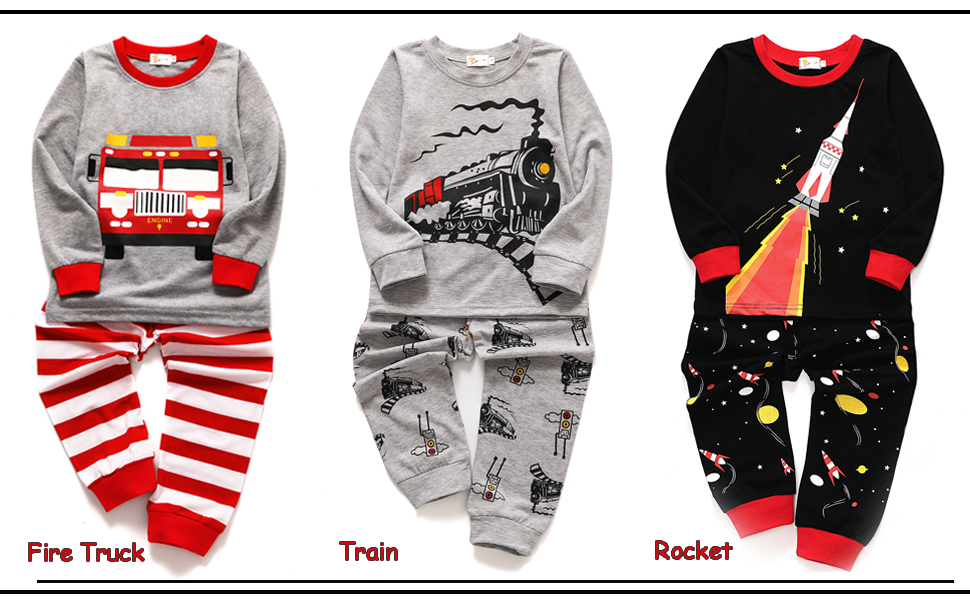 977bcf67832d Amazon.com  Toddler Boys Pajamas Fire Truck 100% Cotton Kids Train 2 ...