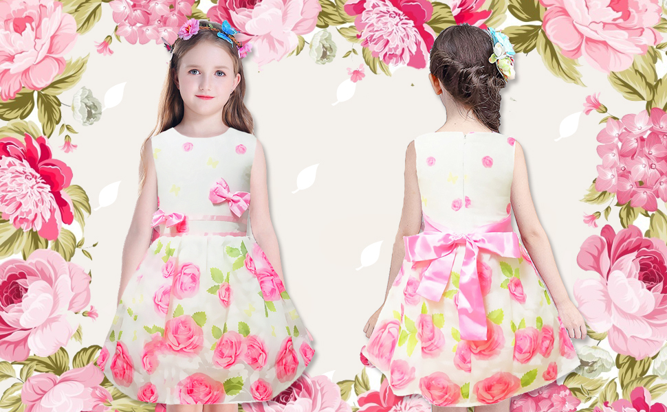 e4f5787ace38 Little Hand Girls Dress Rose Flower Double Bow Tie Party Sundress Pink  Floral Dress for Toddler