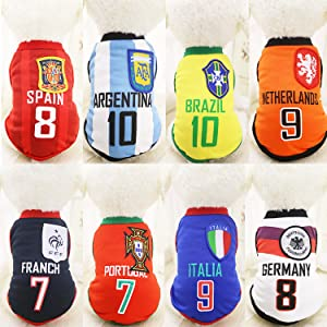 Dog Clothes Football T-shirt Dogs Costume National Soccer World Cup FIFA  Jersey for Pet Brazil 215674bb7