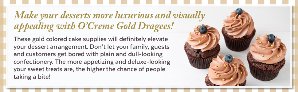 O'Creme gold dragees sugar pearl bead decorating cake supplies sweet shiny round cake cookie pastry