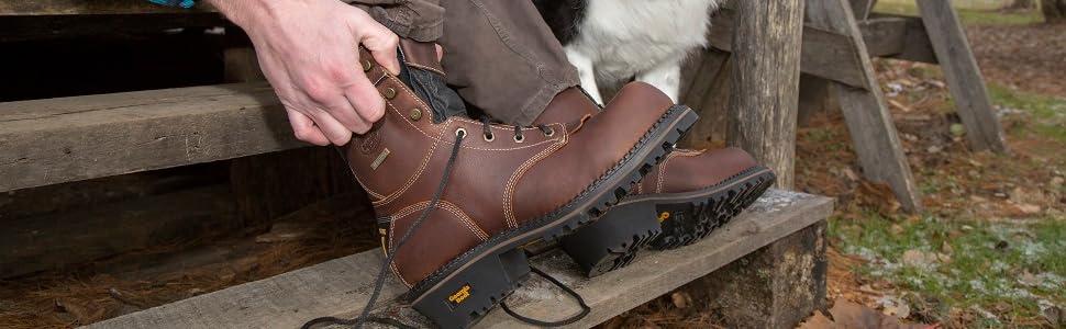 W14 Georgia Boot Mens 9 AMP LT Logger Composite Toe Waterproof Work Boot Brown