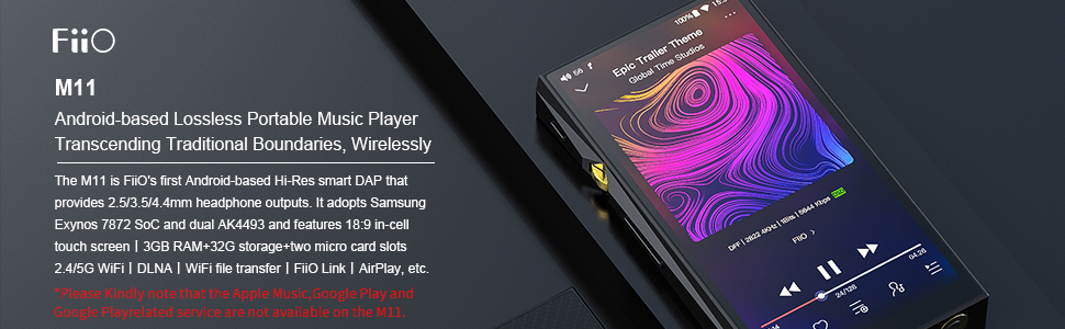 FiiO M11 Android High Resolution Lossless Music Player with aptX, aptX HD,  LDAC HiFi Bluetooth, USB Audio/DAC,DSD256 Support and WiFi Play Full Touch