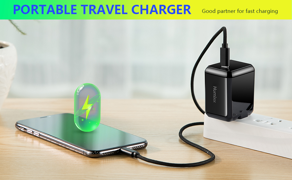 Humixx 29W PD Travel Charger Adapter Type-C Charging Port Shockproof Portable Fast Charger Compatible with iPhone, Android and Other Compliance ...