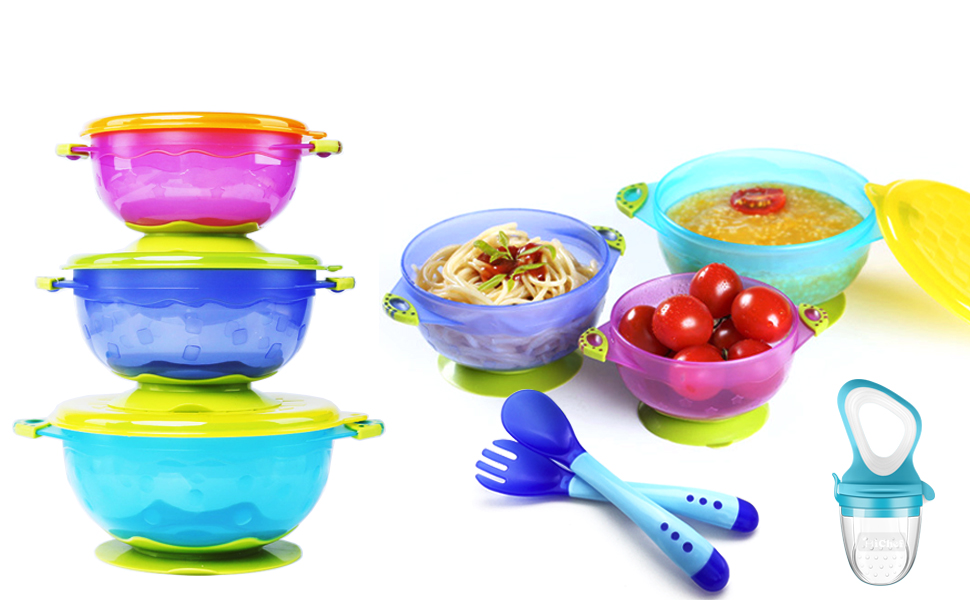 Stay put suction bowl  set baby spoons and fork baby food feeder  Feeding Teething Toys Teether