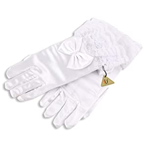 White Satin Short Gloves Bridesmaid Wedding Flower Girl Bridal Floral Headdress Dress