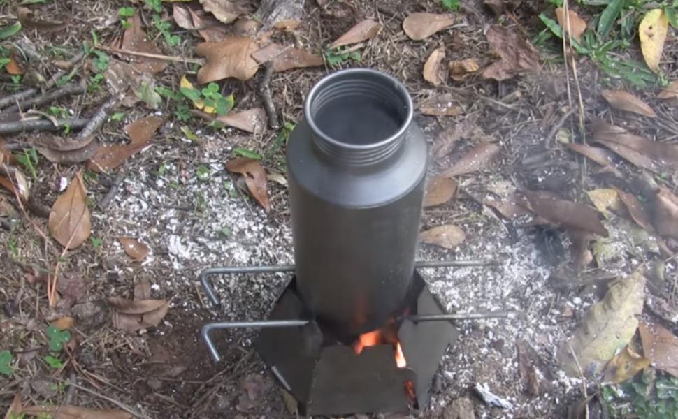 Water bottle in fire