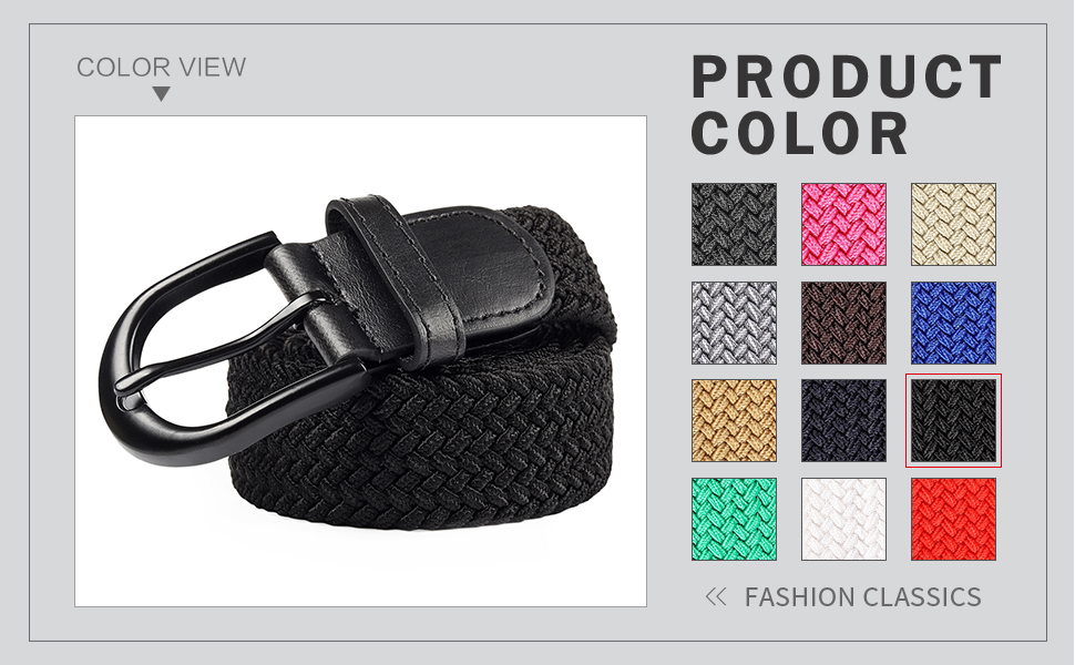 7 Sizes 24 Colors ) Braided Stretch Elastic Belt with Pin Oval Solid Black//Satin Brushed Buckle Leather Loop End Tip with Men//Women//Junior
