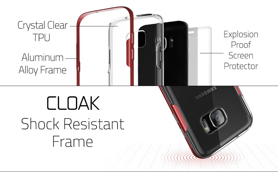 S7 Edge Case, Ghostek Cloak Series for Samsung Galaxy S7 Edge Slim  Protective Armor Case Cover(Silver)