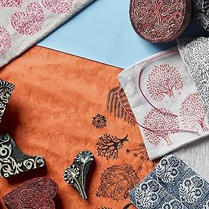 blocks stamps for printing on fabric cloth kurti saree walls clay