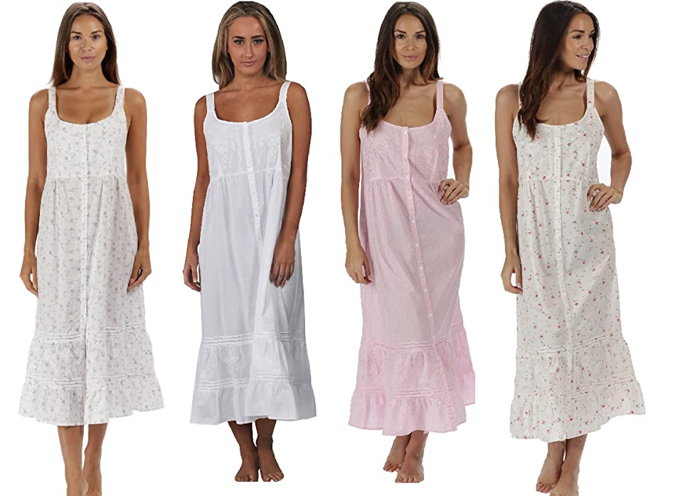 The 1 for U Ruby 100% Cotton Victorian Sleeveless Nightgown 7 Sizes ...