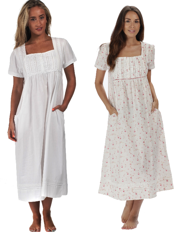 Victorian Nightgowns, Nightdress, Pajamas, Robes The 1 for U 100% Cotton Short Sleeve Nightgown with Pockets - Lara $39.99 AT vintagedancer.com