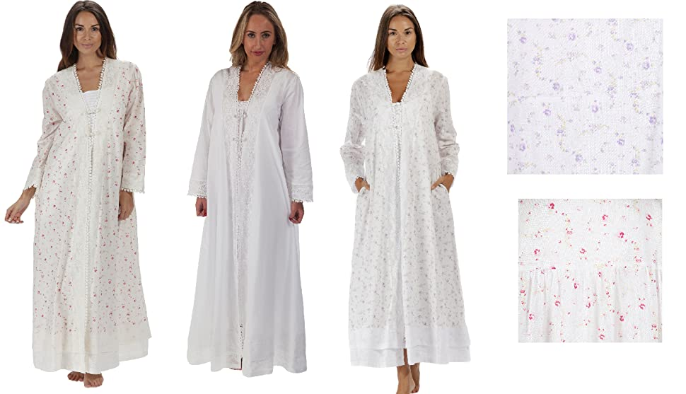 The 1 for U 100% Cotton Ladies Robe/Housecoat - Rosalind at Amazon ...