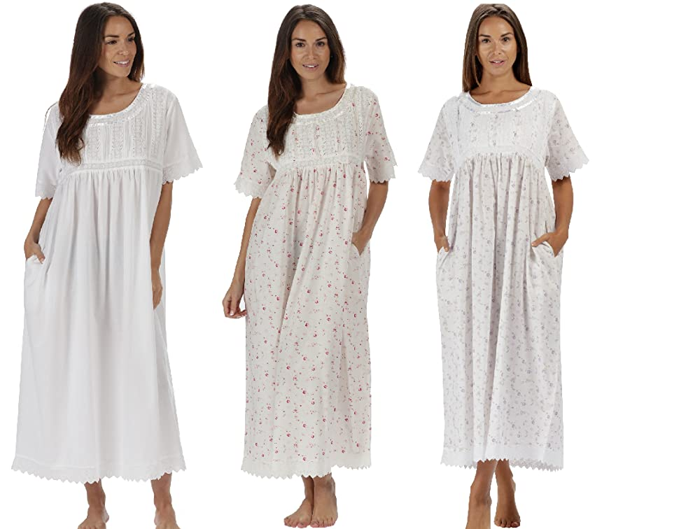 eccf3556c8 The 1 for U Nightgown 100% Cotton + Pockets XS-3XL Helena at Amazon ...
