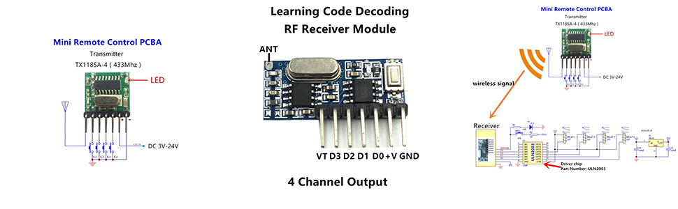 QIACHIP Wireless 433Mhz RF Module Receiver and Transmitter Remote Control  Built-in Learning Code 1527 Decoding 4 Channel Output (Transmitter and