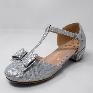 Mary Janes Silver Sequence Slippers Accent Bow Glam Baby Shoes Sandals