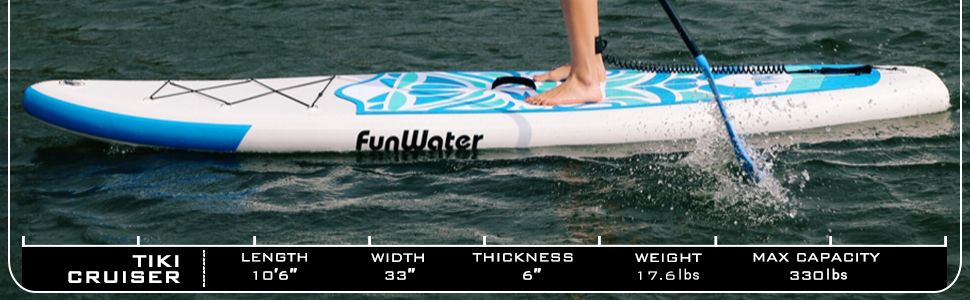 FunWater inflatable stand up paddle board have two color option Blue/Pink