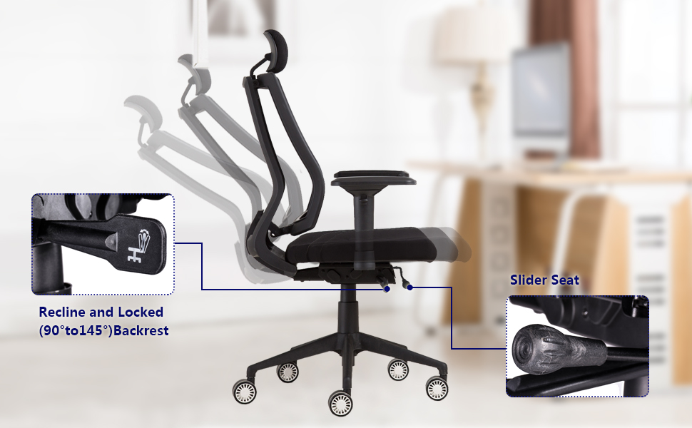Amazon Com Greenforest Mesh Office Chair With Adjustable Slider Seat Recline Locking Mechanism Big And Tall Backrest 360 Degree Swivel Executive Computer Task Chair With Headrest And 4d Armrest Black Home Kitchen