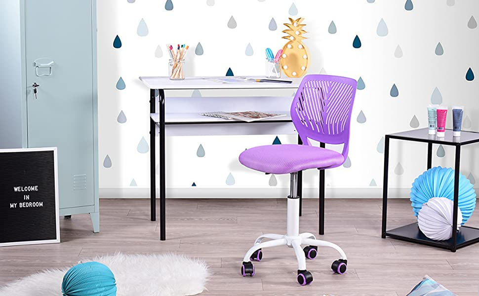 Wondrous Greenforest Desk Chair For Kids Teens Office Chair With Low Back Armless Adjustable Swivel Chair Purple Creativecarmelina Interior Chair Design Creativecarmelinacom