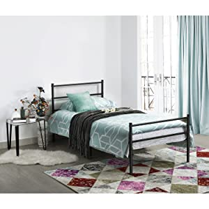 Amazoncom Metal Bed Frame Twin Size GreenForest Two Headboards