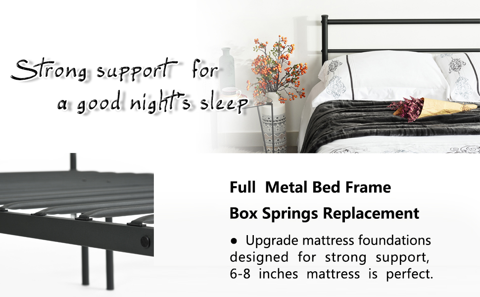 Bedroom Furniture Box Springs Mattresses Metal Frames: Amazon.com: Metal Bed Frame Full Size, GreenForest Two