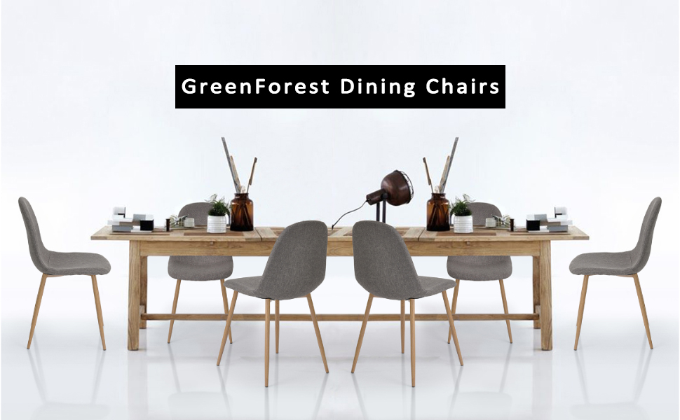 GreenForest Dining Side Chairs Strong Metal Legs Fabric Cushion Seat ...