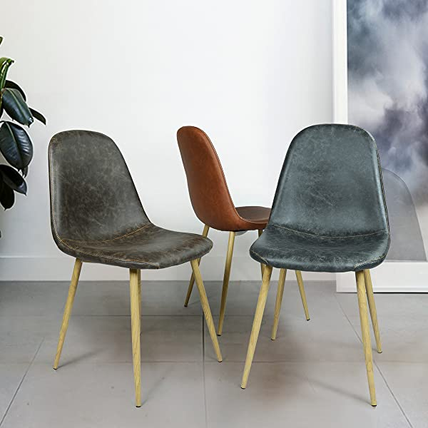 Greenforest dining side chairs washable pu for Leather eames dining chair